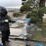 伊賀市の西蓮寺と常住寺にて、石像の清掃作業をしました(17.12.26)