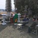 名張市東田原の長楽寺にて燈籠の開眼法要(17.3.25)
